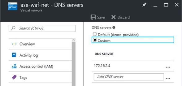 Virtual Network DNS settings